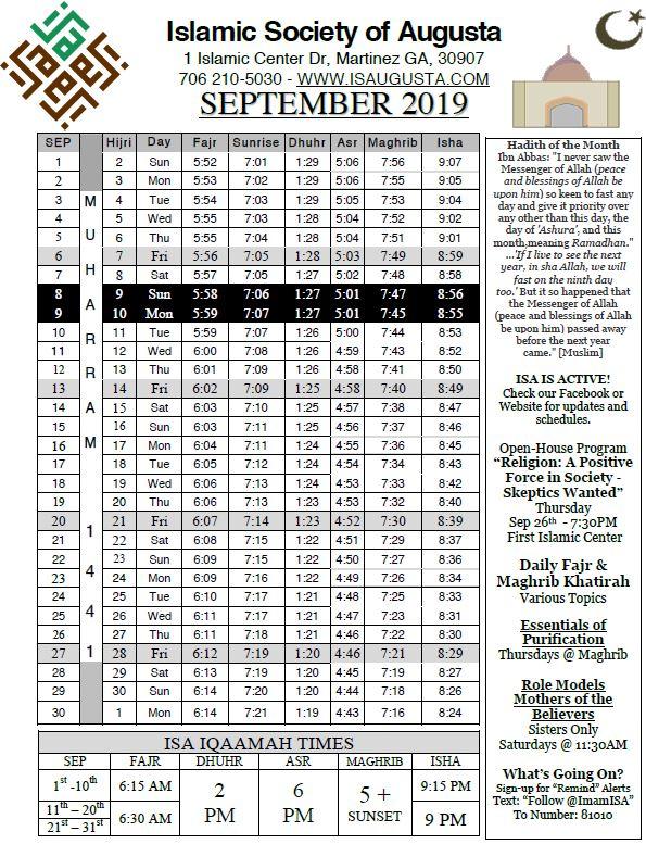 Prayer Times | Islamic Society of Augusta