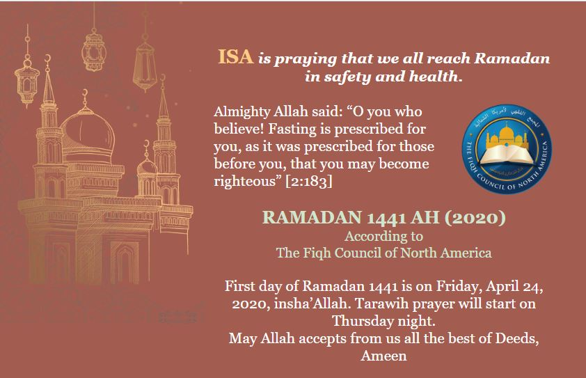 First day of Ramadan 1441 is on Friday, April 24, 2020